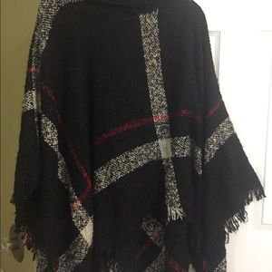 Black, red, white turtleneck plaid poncho